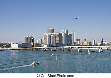 Boats and Airplane at Biscayne Bay - Miami\'s Biscayne Bay...