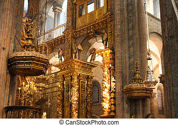 interior of Cathedral - Santiago de Compostela, Spain - The...