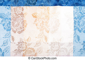 fabric texture silk background Vertical lines Blue red brown...