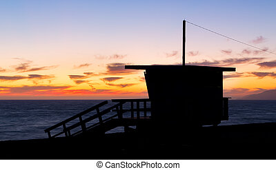 Lifeguard Stand Silhouette at Zuma Beach - Lifeguard stand...