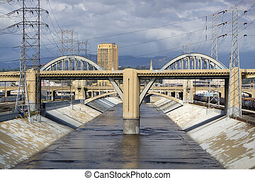 The Sixth Street Viaduct and Los Angeles River in Dowtown...
