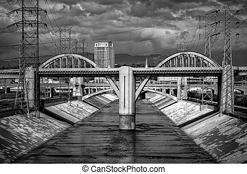Sixth Street Viaduct and Los Angeles River in Black and...
