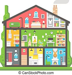 Flat design home interior side view illustration vector