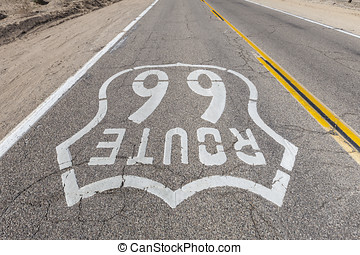 Old Route 66 Sign Upside Down View - Upside down view of old...