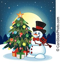 Snowman With Hat And Bow Ties