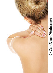 Young woman with nape pain - Young woman with nape pain...