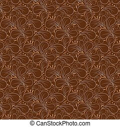 Brown background dotted line - Brown background with Flower...