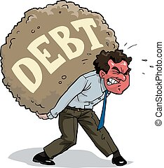 Heavy burden - The man is carrying a debt vector...