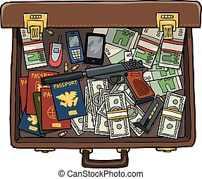Spy suitcase with a gun, money and passports vector...