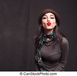 kissing you - attractive young lady kissing you on grunge...