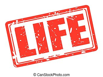 LIFE red stamp text on white