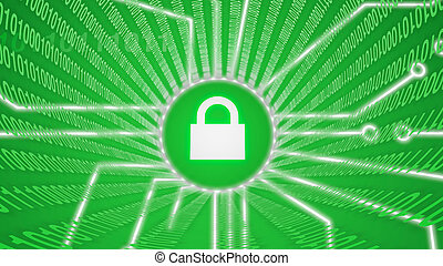 Internet security green lock