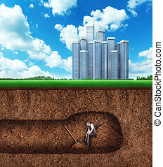 Businessman has a rest while digging tunnel - Businessman...