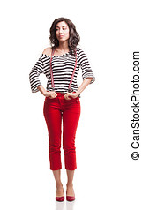 right capri - young lady with red capri and striped blouse...