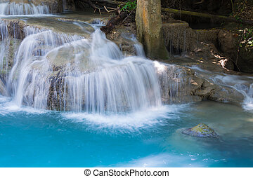 Close up blue stream waterfalls in deep forest national park