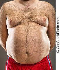 Fat man cropped view - Fat man cropped front view