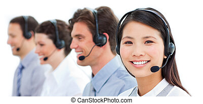 Assertive business people in a call center - Assertive...