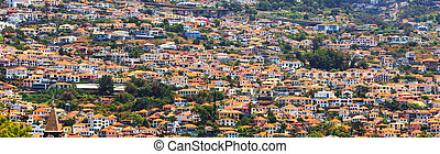 Little houses on the hills - Little brick houses with orange...
