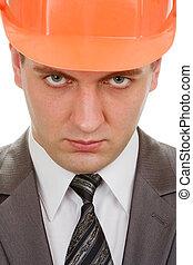 Serious engineer in hardhat