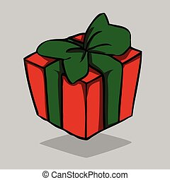 Red present with green bow, vector illustration.