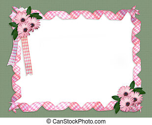 Pink ribbons daisy border - composition of pink gingham...
