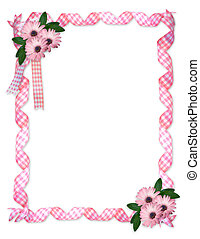Pink ribbons daisy border - Image and illustration...