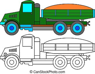 Green lorry as coloring book for ki - Historical green truck...