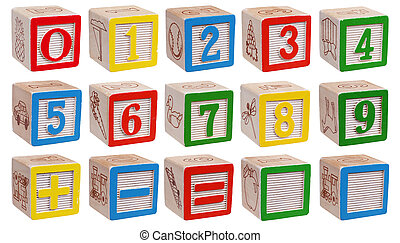 Collection of wooden blocks - numbers