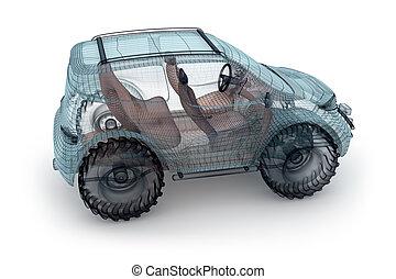 Offroad car design, wire model.  My own design.