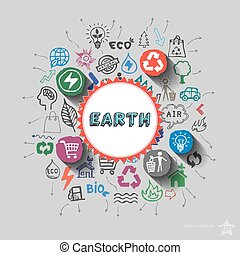 Earth sign. Environment collage with icons background