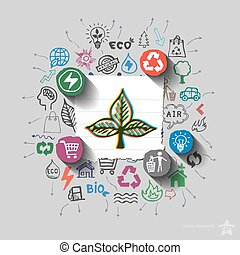 Écologie, icônes,  collage, emblème, environnement, fond