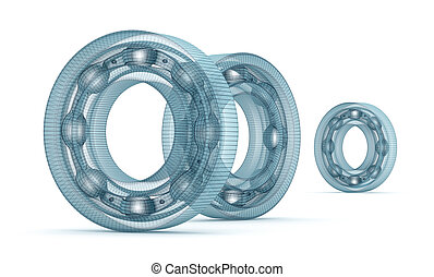 Wire bearing design, isolated on white