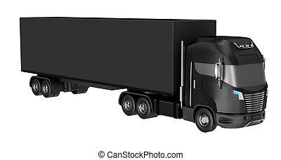 Black truck with container isolated on white. My own design