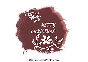 Italic white New Year greetings on bright marsala watercolor...