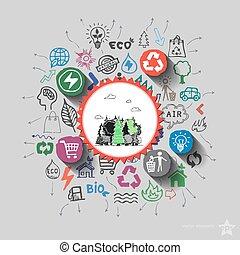 icônes,  collage, environnement, bois, fond, vue