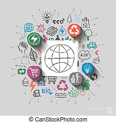 Earth planet. Environment collage with icons background