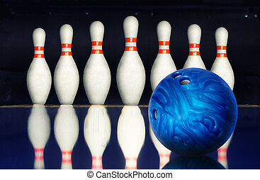 Bowling alley - Bowling ball against ten pins