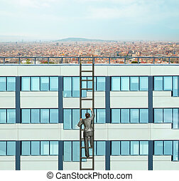 Woman climbing the ladder - Businesswoman climbing the...