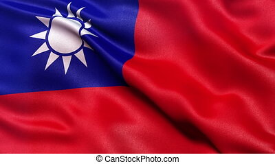 Taiwan flag seamless loop - Realistic flag of Taiwan waving...