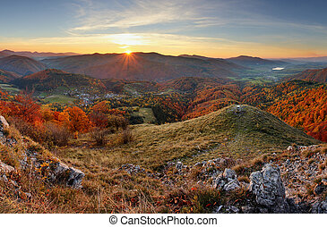 Autumn rural forestl landscape at sunset