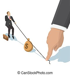 fighting over money - businessman pulling a bag with a...