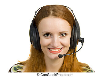 Beautiful smiling business woman with headset isolated on...