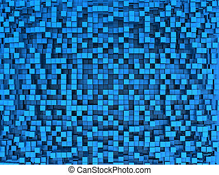 blue cubes - abstract 3d illustration of blue cubes...