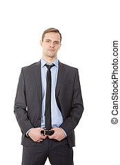 body language. man in business suit. isolated white...