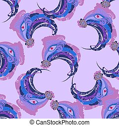 Seamless violet peacock feather vector pattern background. -...