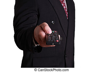 Businessman and Remote Control - Business concept image of a...