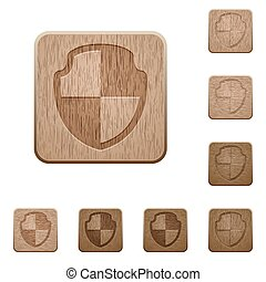 Shield wooden buttons - Set of carved wooden shield buttons...