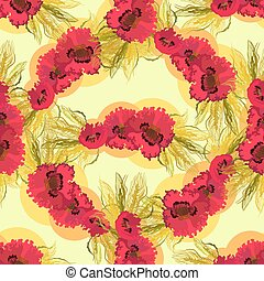Seamless pattern of poppies and wheat.