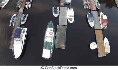 camera flying over yachting marina - yachting marina aerial...