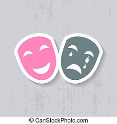 Happy and sad theatrical masks label vector illustration